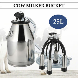 25l Dairy Cow Milker Milking Machine Bucket Tank Barrel Stainless Steel