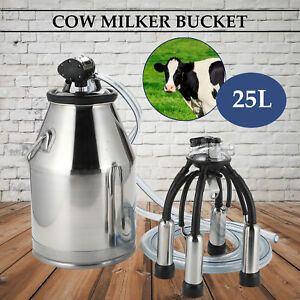Dairy Cow Bucket Tank Barrel Milker Milking Machine Stainless Steel 25l