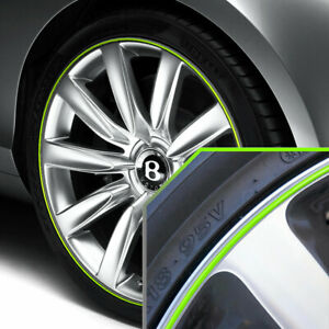Wheel Bands Neon Green Silver Pinstripe Trim For Bentley Flying Spur Full Kit