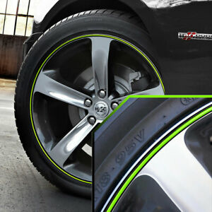 Wheel Bands Neon Green In Black Pinstripe Rim Trim For Dodge Charger Full Kit