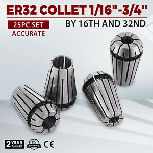 Er32 Collet 25pc Set 1 16 3 4 By 16th 32nd High Quality Steel Tools Accurate