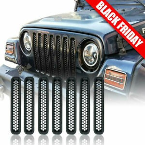 Honeycomb Mesh Front Grill Inserts For 1997 2006 Jeep Wrangler Tj Unlimited 7pcs