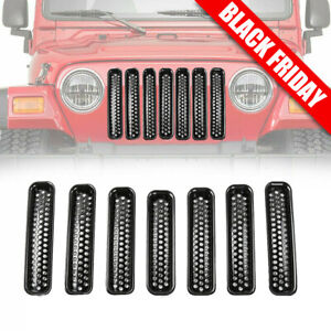 For 1997 2006 Jeep Wrangler Tj Front Grille Cover Insert Mesh Grill Shell Chrome