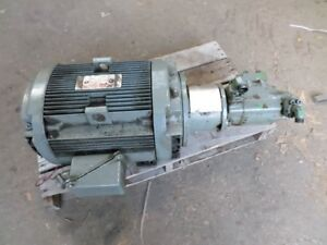 15 Horse Power Hydraulic Pump And Motor Vickers 2520v 14a5 Double Pump