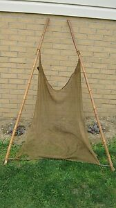 Antique Bamboo Seining Net With Original Parts Led Weights Balsa Wood Floats