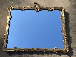 Vintage Gold Hollywood Regency Wall Mirror Antique Large Leaf Modern Mid Century