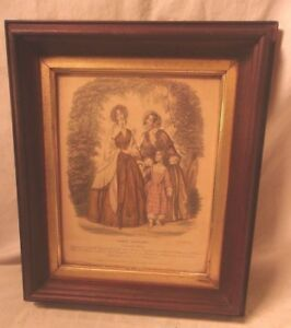 Antique Victorian Walnut Portrait Frame With French Print 11 1 2 X 13 1 2