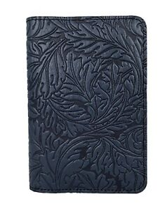 Acanthus Leaf Oberon Design Custom Navy Leather Pocket Moleskine notebook Cover
