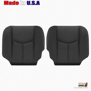 2003 2004 Chevy Avalanche Left Right Bottoms Leather Cloth Seat Cover Dark Gray