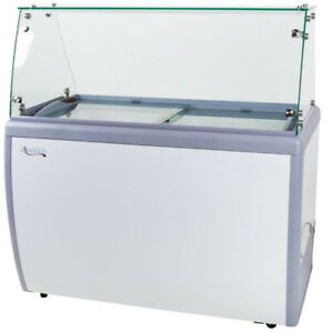 49 Ice Cream 8 Tub Dipping Cabinet Glass Display Freezer Chest Sliding Top Door