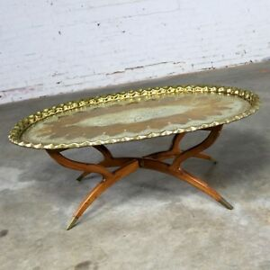 Vintage Indian Moroccan Style Oval Tray Top Spider 4 Leg Coffee Table