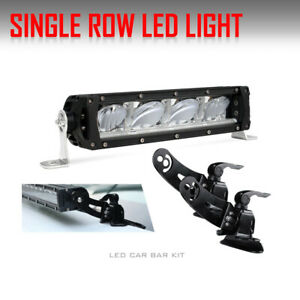 Slim Led Light Bar Single Row Carbar 1100w 12inch Flood Spot Drl Offroad Suv 10
