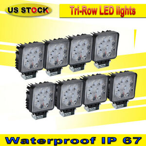 8pcs 27w 12v24v Spot Led Work Light Fog Lamp Boat Tractor Truck Offroad Suv 4wd