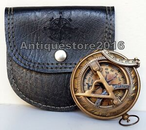 Nautical Antique Brass Camping Navigation Outdoor Sundial Compass W Leather Case