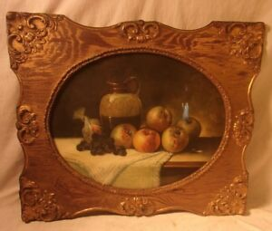 Antique Victorian Frame With Print 22x26 Holds 16x20
