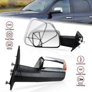 Pair Towing Mirrors Power Fold Heated Puddle Turn For 10 12 Dodge Ram 2500 3500