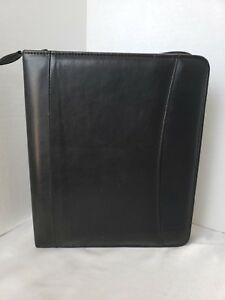 Vintage Franklin Classic Black Synthetic Zip Planner 1 25 Removable Rings