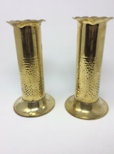 Pair Of Solid Brass Vases Arts And Crafts Style H23 W12cms