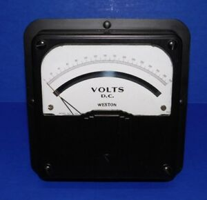 Large Nos Vintage 6 5 Weston Voltmeter Model 921 Panel Meter 300 Volts Dc Gauge