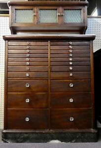 Antique Mahogany Dental Cabinet 25 Drawers 3 Cabs Marble Base White Inserts 1920
