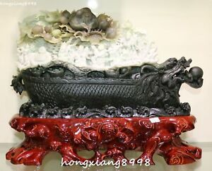 Natural Dushan Jade Eight Immortals Shouxing God Dragon Boat Crane Peach Statue