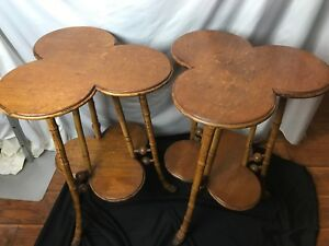 Pair Clover Leaf Parlor Side Tables Bamboo Legs Hugh Miller Co As Is