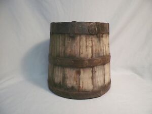 Old Antique Primitive Wood Iron Firkin Sugar Bucket Sap Syrup Metal Wooden
