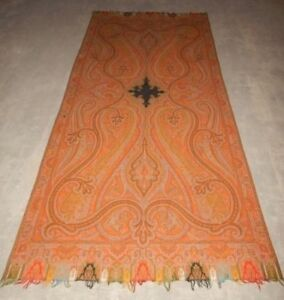 Large Antique Asian Indian Large 19th Century Kashmir Wool Shawl Paisley W Sign