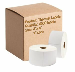 1000 Direct Thermal Labels 4 X 6 Very Sticky 4 Rolls Of White Mailing Labels