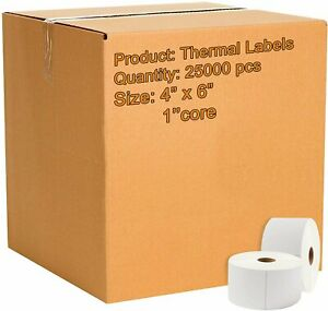 25000 Direct Thermal Labels 4 X 6 Very Sticky Mailing Labels 1 Inch Core