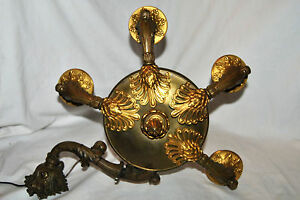 Antique French Empire Sconce Gold Plated Bronze Lights Candle Combination Rare