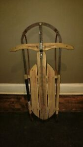 Vintage Antique Fleetwing Racer Wood Snow Pull Sled Primitive Rustic