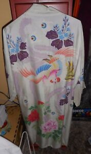 Antique White Silk Chinese Robe With Painted Floral Bird Pattern