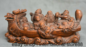 8 Old China Boxwood Hand Carved Feng Shui Eight Immortals Dragon Boat Statue