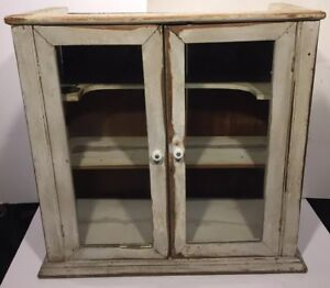 Antique 1800 S Wood Glass Wall Medicine Cabinet Cupboard Vanity