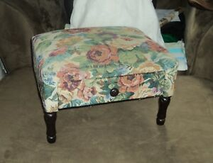 Foot Stool Fabric Covered With Flowers And One Drawer Victorian Reproduction