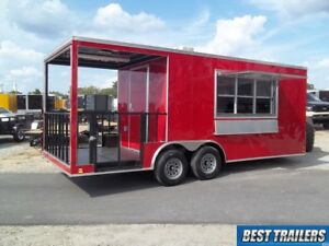 2019 8x20 Bbq Porch Enclosed Concession Trailer Vending 8 X 20 Electrical W Sink