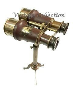 Antique Nautical Brass Leather Binocular Vintage Monocular With Tripod Stand