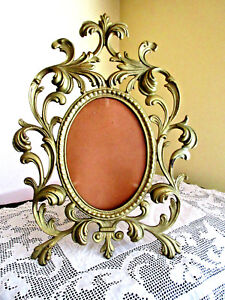 Vintage Gold Tone Oval Metal Ornate Standing Picture Frame