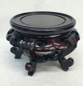 Vintage Chinese Hand Carved Wood Stand 6