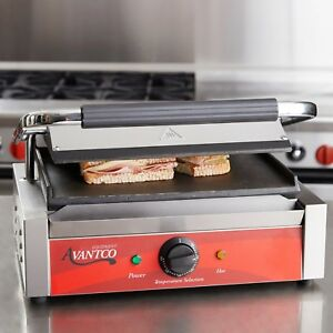 Commercial Panini Grill Press Sandwich Maker Smooth Plates Restaurant Equipment