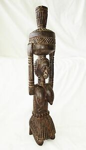 1950s Kenyan Tribal Hardwood Carved Fertility Statue Of Woman W Basket Eic