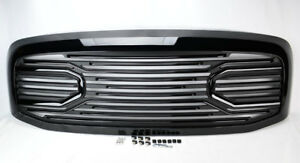 Gloss Black Big Horn Front Grille Shell For Dodge Ram 1500 2500 3500 2006 2008