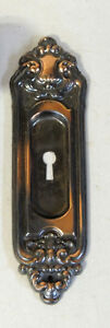 C1910 Sargent Copper Pocket Door Handle Backplate Plate Victorian Antique Vtg