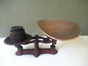 Antique Balance Scale Primitive General Store Cast Iron 3 Weights Brass Tray