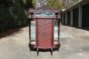Fancy Mahogany Victorian 7 Drawer Sideboard Buffet W Curio Side Cabinets Ca 1890