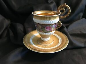 Antique 18 Or Early 19 Cen French Porcelain Cup Saucer Gold Hand Painted