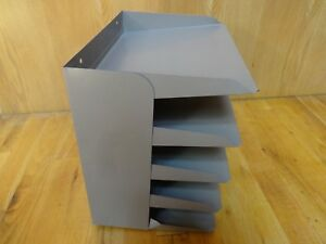 Vintage Metal Industrial 5 tier Office Letter Paper File Tray Organizer