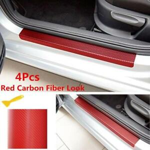 4x Car Door Sill Scuff Welcome Pedal Red Carbon Fiber Front Rear Protect Sticker
