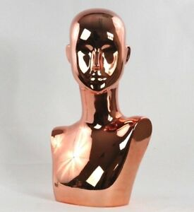 Mn 442rg Chrome Rose Gold Pink Female Abstract Mannequin Head Display